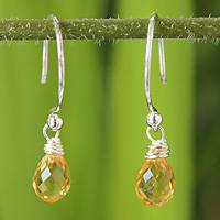 Citrine dangle earrings, 'Dewdrops' - Silver Citrine Earrings
