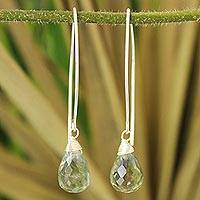 Quartz dangle earrings, 'Sublime' - Quartz dangle earrings