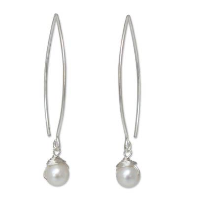 Artisan Thai Sterling Silver and Pearl Earrings