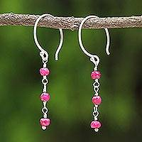 Ruby dangle earrings, 'Swinging in the Rain'