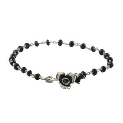Black spinel floral bracelet