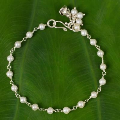 Pearl floral bracelet, 'White Rose Horizon' - Sterling Silver and Pearl Bracelet