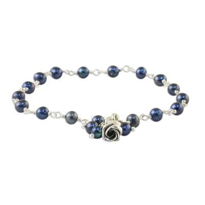 Pearl floral bracelet, 'Black Rose Horizon' - Pearl and Silver Bracelet
