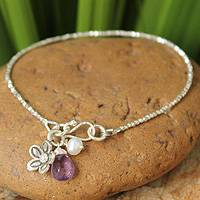 Pearl and amethyst beaded charm bracelet, 'Blossoming Romance' - Unique Sterling Silver Amethyst Womens Beaded Bracelet
