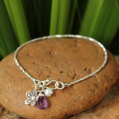 Pearl and amethyst beaded charm bracelet, 'Blossoming Romance' - Thai Floral Silver Beaded Amethyst Bracelet
