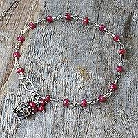 Silver pendant bracelet, 'Red Rose Horizon' - Fair Trade Sapphire and Silver Bracelet