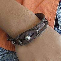 Leather wristband bracelet, 'In a Pod'