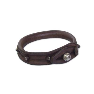 Leather wristband bracelet, 'In a Pod' - Leather wristband bracelet