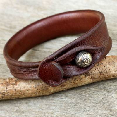 Leather wristband bracelet, 'Sleek Chic' - Leather Bracelet from Thailand