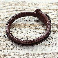 Leather wristband bracelet, 'Rugged Chic' - Artisan Crafted Leather Wristband Bracelet
