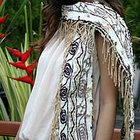 Cotton scarf, 'Paradise on Earth' - Fair Trade Cotton Scarf