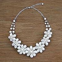 Pearl flower necklace, 'Jasmine Garland'