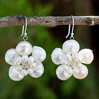 Pearl flower earrings, 'Jasmine Garland' - Floral Pearl Earrings