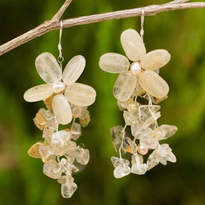 Pearl and quartz earrings, 'Peach Blossoms' - Floral Pearl and Quartz Waterfall Earrings