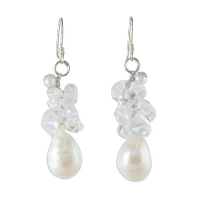 Unique Thai Pearl and Quartz Cluster Earring