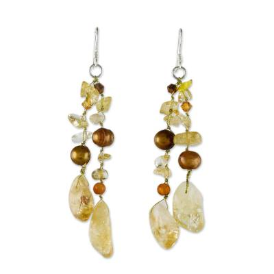 Pearl and Citrine Waterfall Earrings