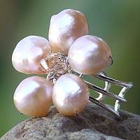 Pearl cocktail ring, 'Peach Blossom' - Pearl cocktail ring