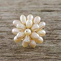 Pearl cocktail ring, 'Peach Mum' - Pearl Cocktail Ring