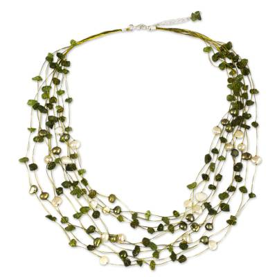 Peridot and pearl strand necklace, 'Cool Shower' - Hand Crafted Pearl and Peridot Necklace