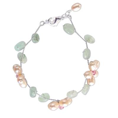 Handcrafted Floral Beaded Quartz and Pearl Bracelet