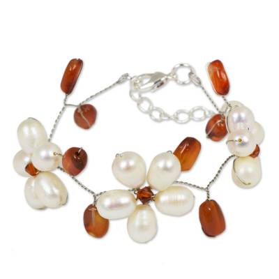 Unique Pearl and Carnelian Flower Bracelet