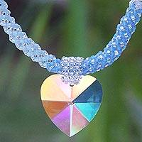 Beaded heart necklace, 'Heart of the Universe' - Handcrafted Heart Shaped Pendant Necklace