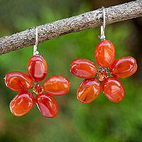 Carnelian floral earrings, 'Mystic Daisy' - Handcrafted Carnelian Floral Dangle Earrings