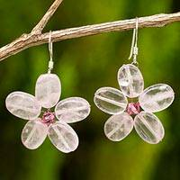 Rose quartz flower earrings, 'Mystic Daisy' - Rose Quartz Flower Earrings
