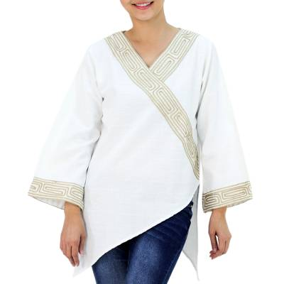 Cotton blouse, 'China Paths' - Thai Cotton Blouse