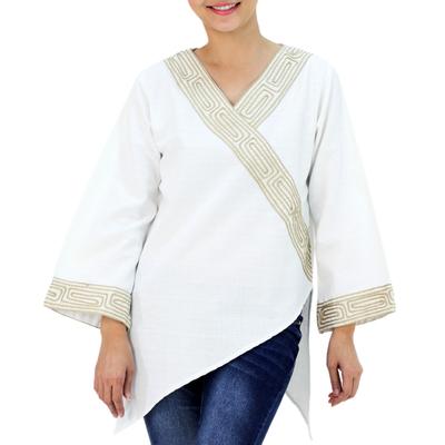 Cotton blouse, 'China Paths' - Thai Cotton Blouse