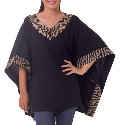 Cotton blouse, 'Flowing Nature in Black' - Cotton blouse