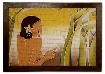 Batik art, 'Impress Nature' - Unique Batik Cotton Wall Art