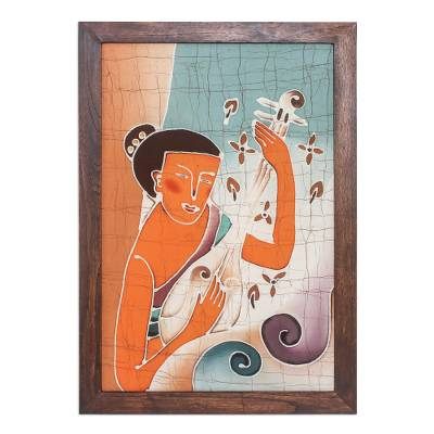 Batik art, 'Lanna Melodies' - Handcrafted Batik Cotton Wall Art