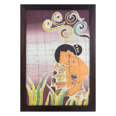 Batik art, 'Daydreams' - Batik Cotton Wall Art