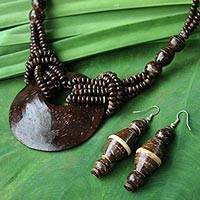 Coconut shell jewelry set, 'Thai Princess' - Coconut Shell Earrings and Necklace Jewelry Set