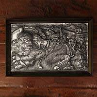 Aluminum repousse panel, 'Defeating the Giant' - Aluminum repousse panel
