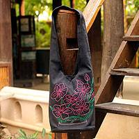 Cotton sling tote, 'Think Pink' - Handcrafted Embroidered  Floral Cotton Shoulder Bag