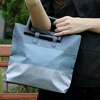 Silk handbag, 'Cool Gray Parallels' - Silk handbag