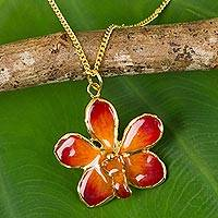 Natural orchid necklace, 'Orchid Star' - Gold Plated Natural Orchid Necklace