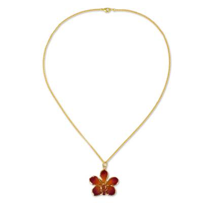 Natural orchid gold-plated necklace
