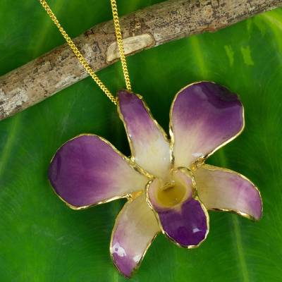 Natural orchid brooch pin necklace, 'Orchid Fantasy' - Gold Plated Natural Flower Pendant Necklace