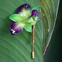 Natural orchid gold plated stickpin, 'Orchid Dreams' - Women's Natural Flower Brooch Pin