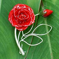 Natural rose brooch pin, 'Roses of Love' - Natural rose brooch pin