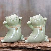 Celadon ceramic statuettes, 'Good Luck Cats' (pair) - Thai Celadon Ceramic Sculptures (Pair)