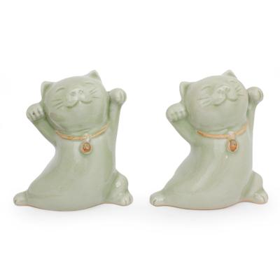 Thai Celadon Ceramic Sculptures (Pair)
