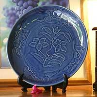 Celadon ceramic plate, 'Blue Lily' - Celadon ceramic plate