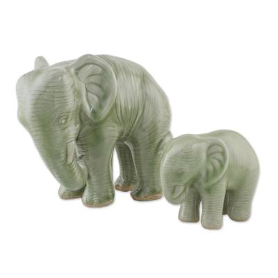Celadon ceramic statuettes, 'Mom and Baby, a Family Affair' (pair) - Green Celadon Ceramic Elephant Statuettes (Pair)
