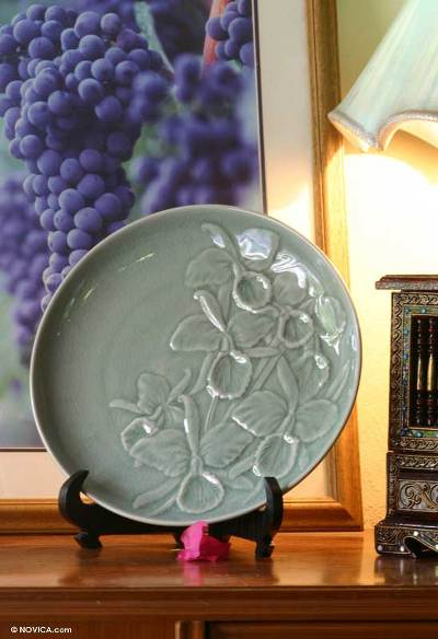 Celadon ceramic plate, 'Green Orchid' - Celadon ceramic plate