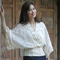 Cotton blouse, 'Surreal Thai' - Embroidered Cotton Blouse