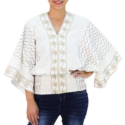 Cotton blouse, 'Surreal Thai' - Embroidered Cotton Blouse